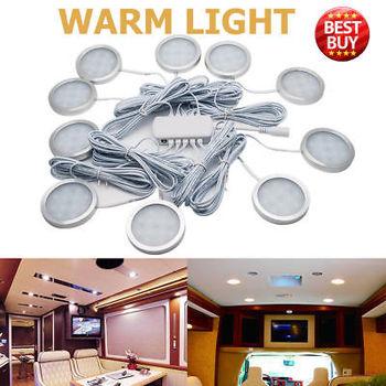 10pcs 12V Interior Warm LED Spot Lights 2.5W For VW T4 T5 Camper Van Caravan Motorhome Car Warm Lights 3000K
