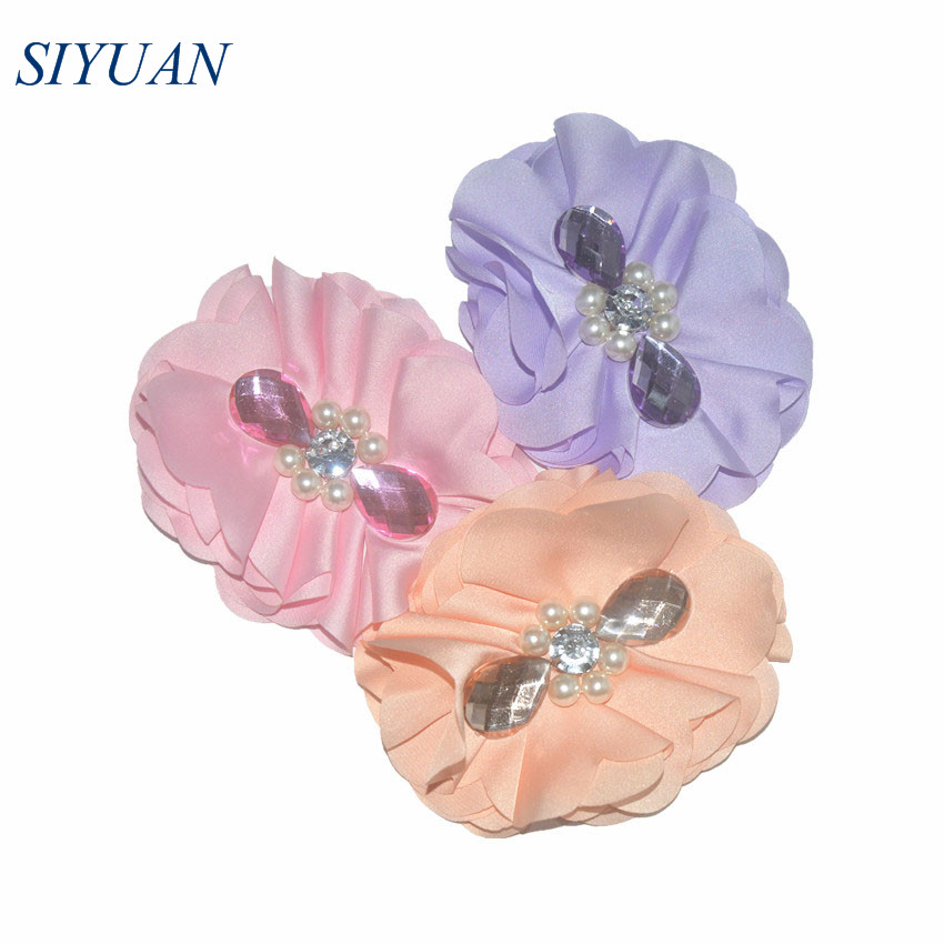 60pcs lot 4 inch Fabric Silk Satin Flower with Rhinestone DIY Boutique Headband Garment Accessories 21