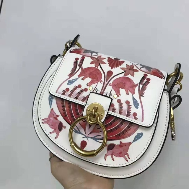 2019 Women Geniune Leather Fashion Doodling Piglet Ring Design Handbags Shoulder Bags Ladies Hand Bags Cell Phone Lovely