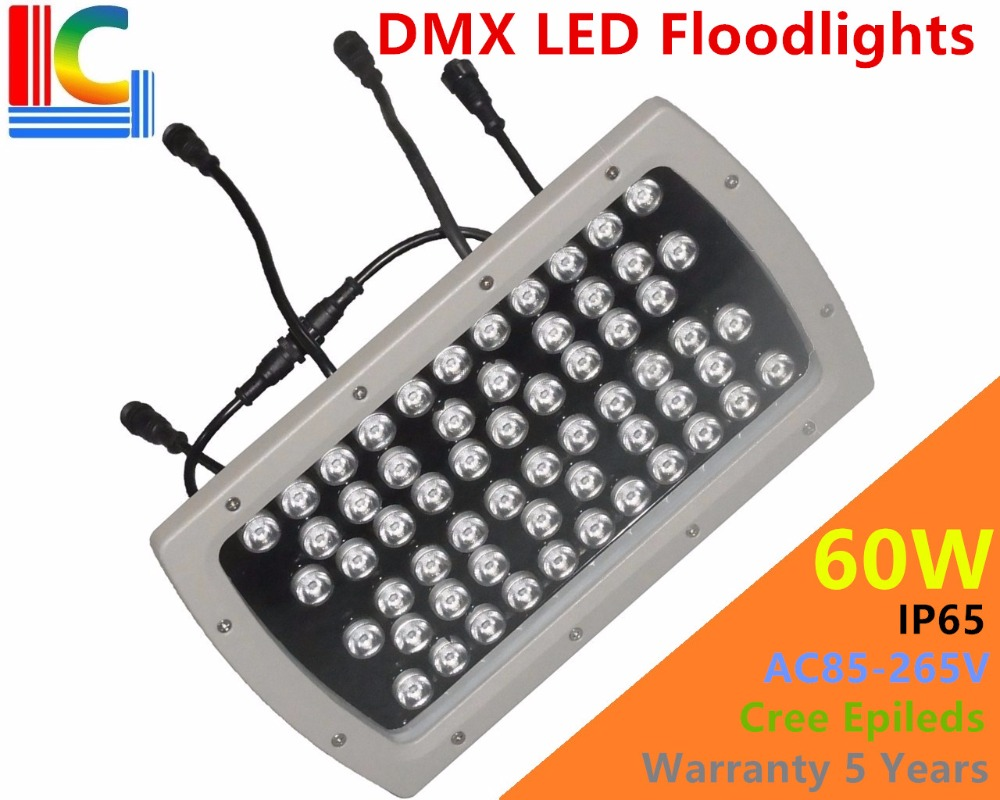 High qulity 60W LED Floodlights IP65 Waterproof outdoor Landscape Lighting DMX512 Control RGB colorful sportlight CREE LEDs CE