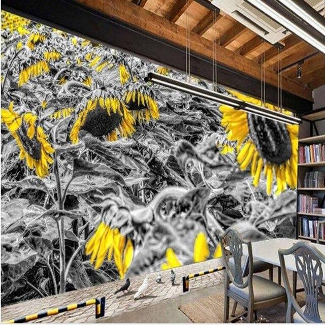 Beibehang Custom Large Fresco High Definition Oil Painting Sunflower  Sunflower Backdrop Super Green Wallpaper Papel De