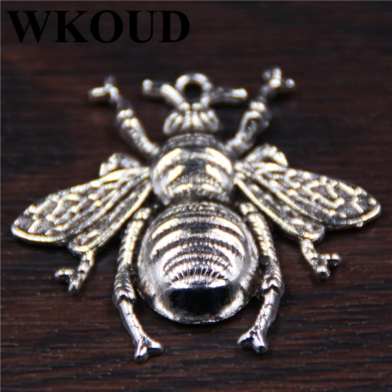 5pcs Antique Sliver Bee Animals Charm Fit Bracelets Necklance DIY Metal Jewelry Making 38X40mm