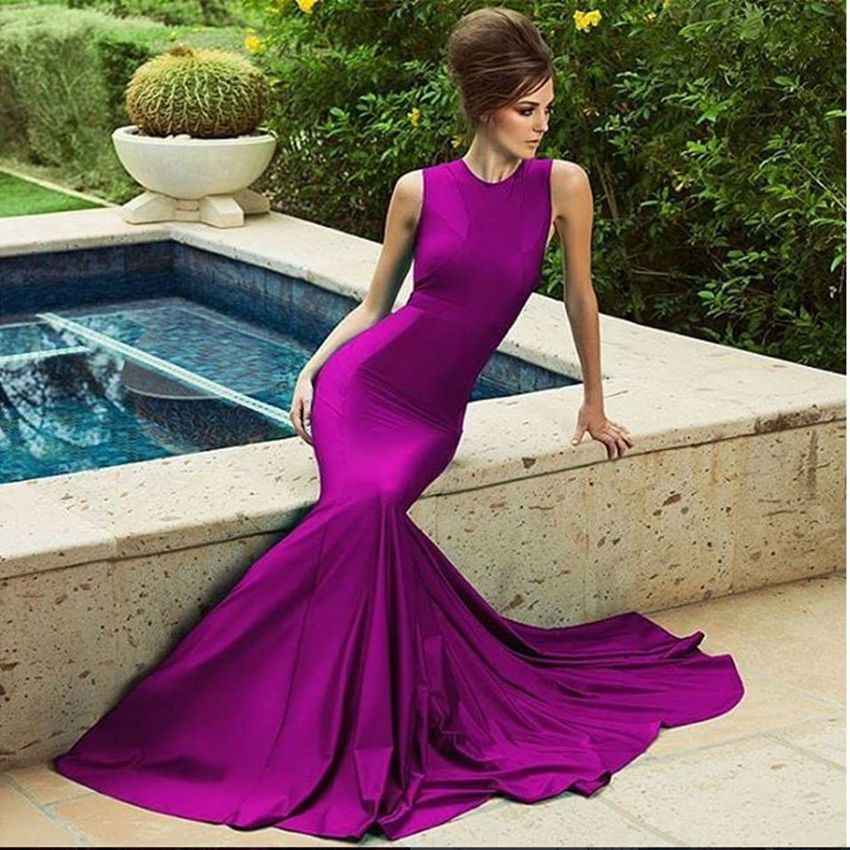 Purple Evening Gowns with Train_Evening Dresses_dressesss