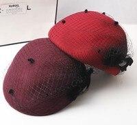 Dot Veil Fedora Hat WOmen Pure Bow Beret Hat Ladies Wool Pillbox Wool Hat Wedding Church Caps Autumn Fashion Sombreros Hat