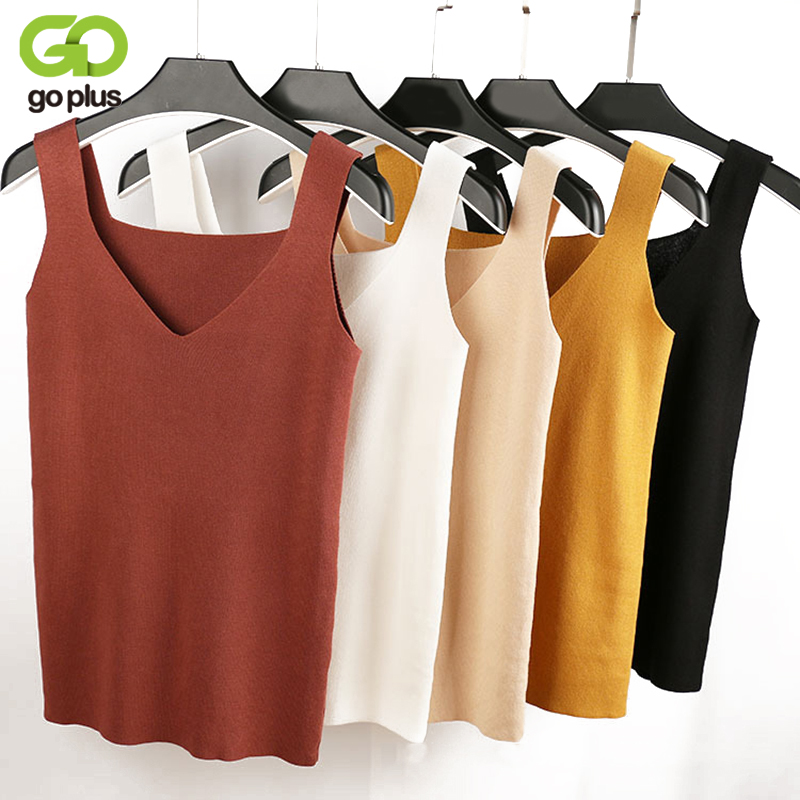 GOPLUS 2018 Sexy Crop Top Knitted Autumn Tank top Women Blouse Sleeveless V Neck Top Female t-shirt Vest Casual Camis Streetwear