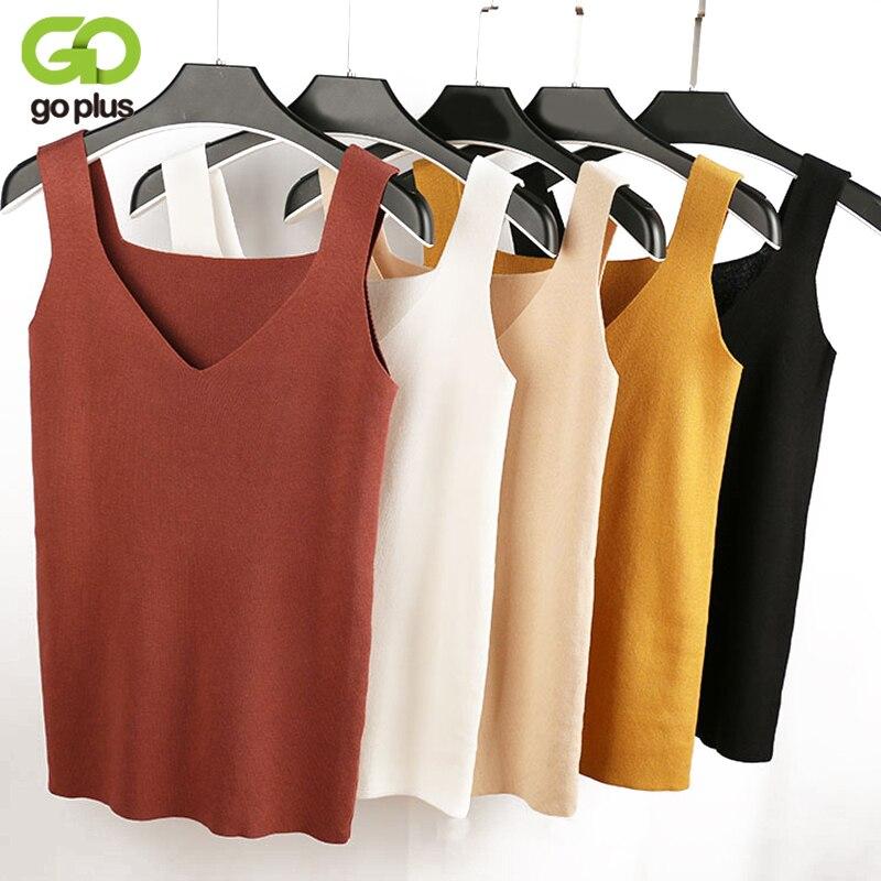 GOPLUS 2018 Sexy Crop Top Tricoté Automne débardeur Femmes Blouse Sans Manches V Neck Top Féminin t-shirt Gilet Casual Camisoles streetwear