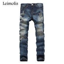 Balmai Leimolis дешевые робин байкер джинсы мужчины мода твердые Темно-Синий agepleated тонкий середина прямо полная длина брюки HQL781 #