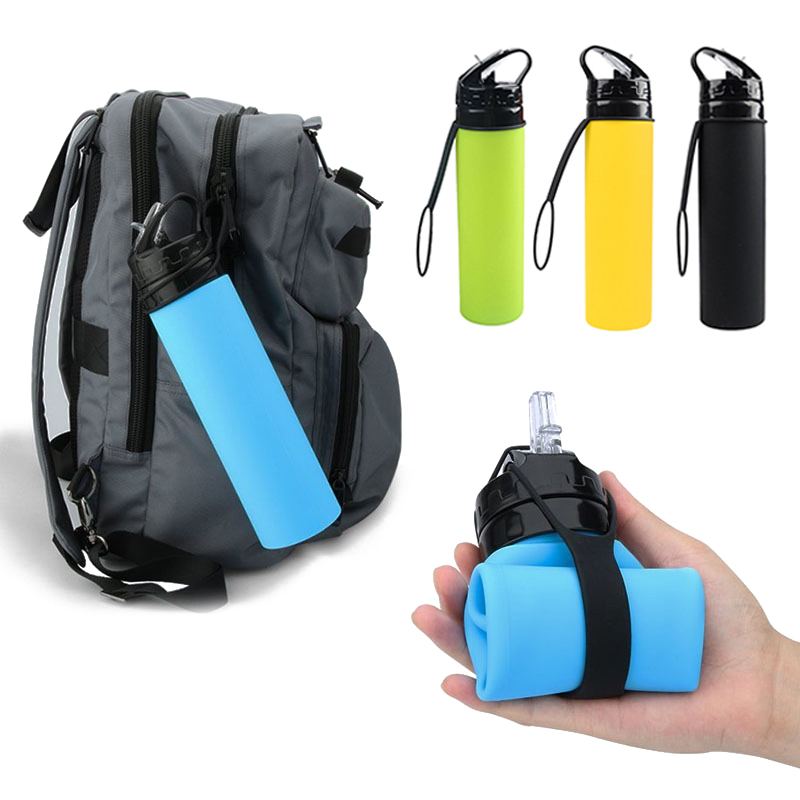 Silicon Reusable Foldable Collapsible Drink Water Bottles Outdoor Camp Hiking