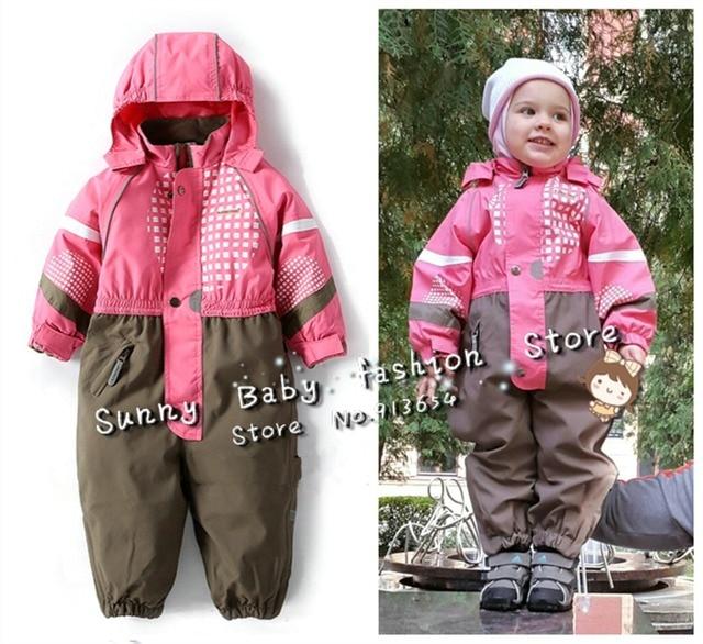new 2016 autumn winter Rompers children clothing baby boy outdoor waterproof coat baby girls overall children windproof jumpsuit