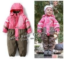 new 2014 autumn winter Rompers children clothing baby boys outdoor waterproof girls overalls windproof jumpsuits