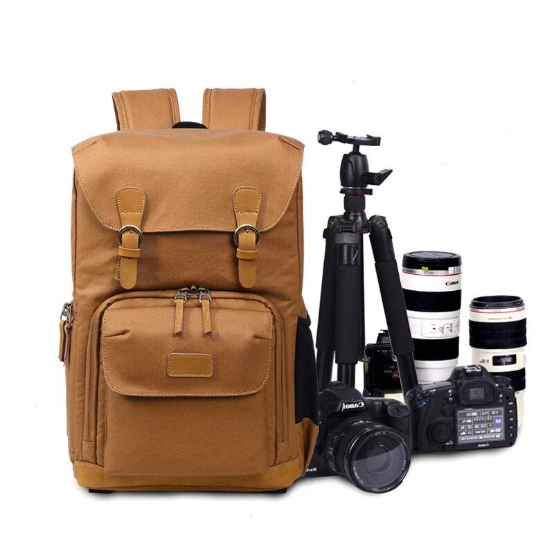 Wielofunkcyjne płótno plecak na aparat podróż wideo cyfrowe DSLR torba wodoodporna na zewnątrz torba na aparat fotograficzny Case dla Nikon Canon w Torby na aparaty/kamery od Elektronika użytkowa na AliExpress - 11.11_Double 11Singles' Day 1