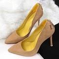 Sexy pontas do dedo do pé das mulheres do salto fino bombas sapatos de camurça sapatos de salto alto OL carreira bombas 6 cores B8915-2