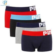 Pink Heroes 4pcs/lot Men Underwear Boxers Pure Color Print Cotton Boxer Men Underwear Sexy Brand Comfort Underpants Boxer Shorts