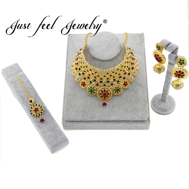 JUST FEEL Dubai Jewelry sets Multiple Circles Gold Color Necklace & Earrings Mid