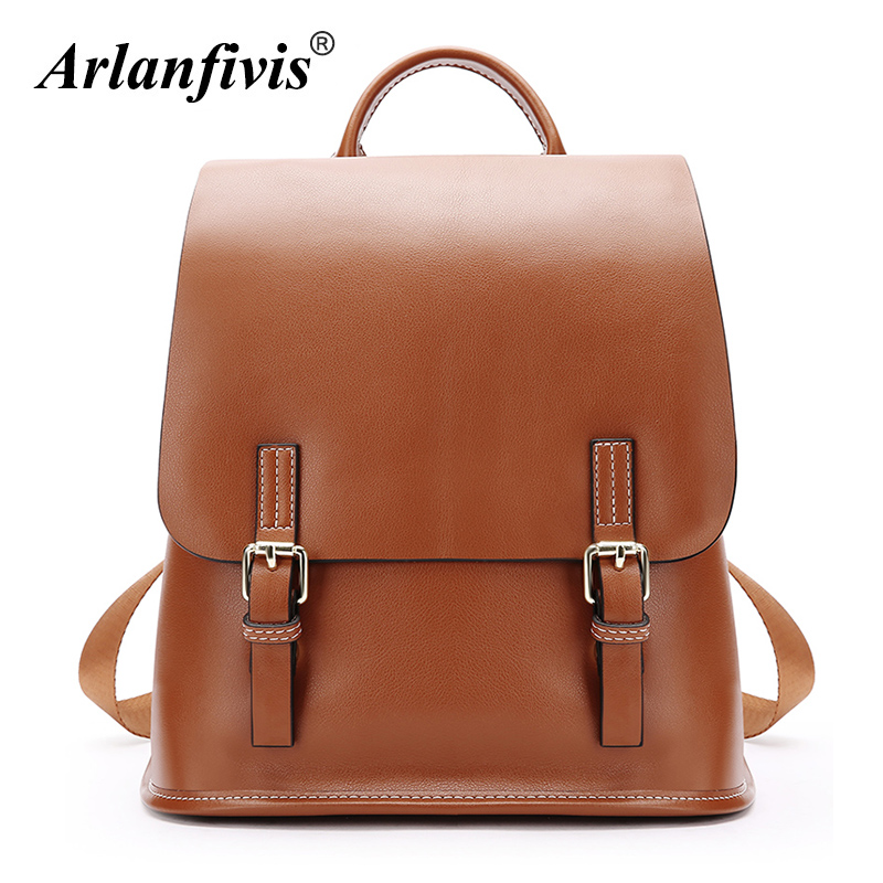 Arlanfivis Genuine Leather Backpack Women Large Capacity Fashion Casual School Bag Travel Backpacks Cowhide 2018 Female Bags arlanfivis genuine leather new designer 2018 fashion woman bag cowhide large capacity female handbag wide strap crossbody bags