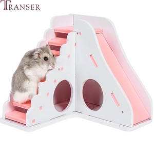 Image 5 - Transer Small Pet Hamster Toys Entertainment Sport House Hamster Wooden Toy Ladder Slide Small Animals Supply 90610
