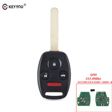 Sistema Keyless da Entrada Do Carro KEYYOU 4 Botões 313.8 Mhz Remoto Chave Com Chip de ID46 OUCG8D-380H-A Fob Para Honda Accord Fit Civic 2003-2007(China)