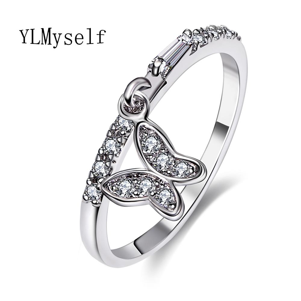 9cf4663dd494 Anillos de mariposa encantadores para mujeres baratos China venta al por  mayor lote anel feminino aneis bague zirconia cristal moda blanco anillo de  moda en ...