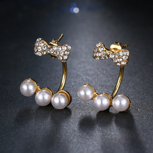 Emmaya Fashion Unique Design Lovely Bowknot Crystal 3 Pearls Stud Earrings Gold Color For Woman New Christmas Gift Party