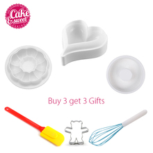 hot deal buy 3pcs silicone baking cake molds decorating bakeware tools diy cake moulds round heart kitchen bakeware with 3 gifs