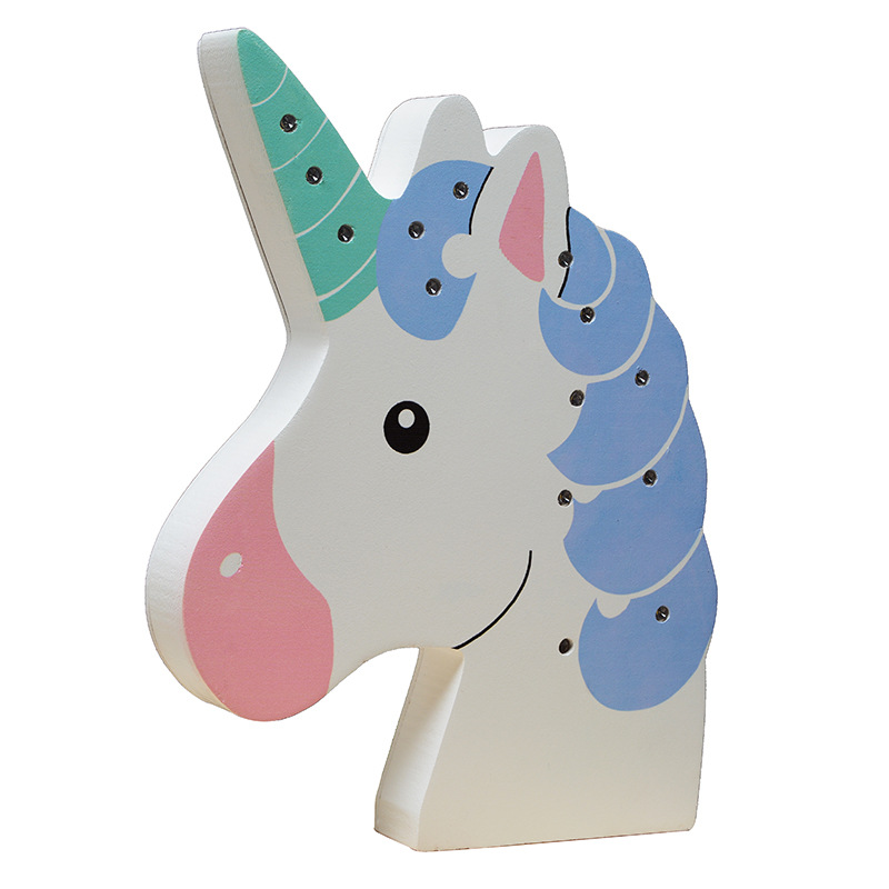 Wind Chimes & Hanging Decorations Home Decor Cute Cartoon Unicorn Night Light Wooden Ornaments Led Light Creative Handmade Crafts Wall Decorations Home Childrens Room Decor