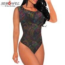 SEBOWEL Woman Summer Sleeveless Print Bodysuit 2019 New Boho Style Female Ladies Casual Body Top Clothing Bodysuits Size S M L