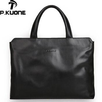 P.KUONE fashion men bag genuine leather handbag shoulder bags business men briefcase laptop