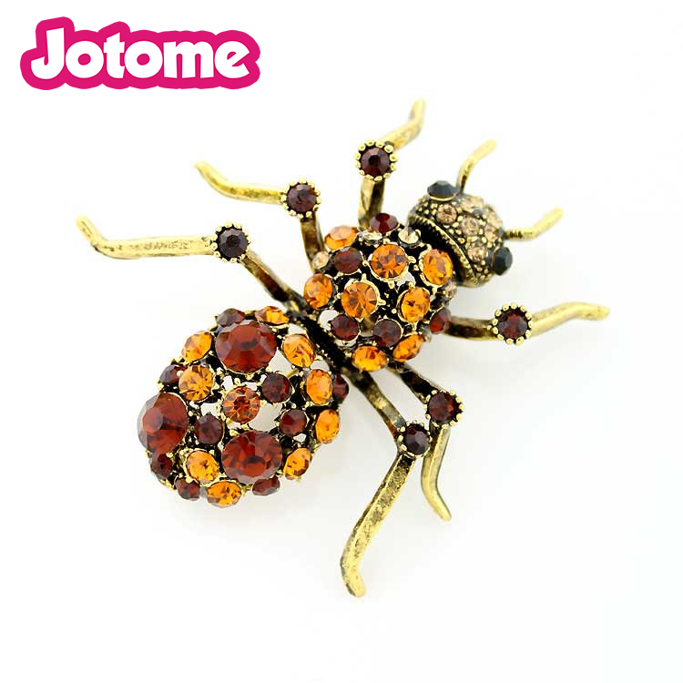 Vintage Style Rhinestone Amber Brown Ant Brooch Insect Broach Pins Jewelry