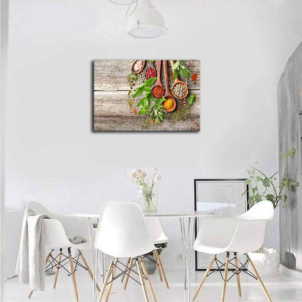 Grains Spices Canvas Prints Paintings Hd Prints Poster Kitchen Decor Wall Art Food Pictures 4 Piece Spoon Picture