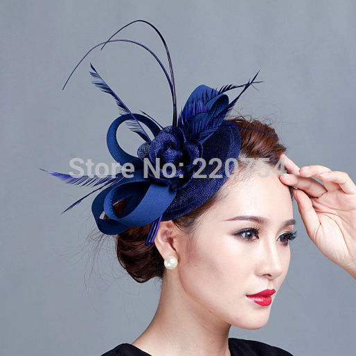 Ladies royal blue fascinator flower feather sinamay hat women hair elegant  fascinators for wedding party and races 7colour d7d850aba4f