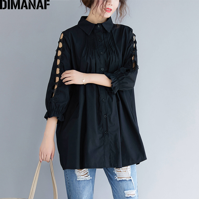 DIMANAF Plus Size Women   Blouse     Shirts   Sexy Office Ladies Tops Hollow Out Lace Long Sleeve Female Elegant Loose Clothing Black