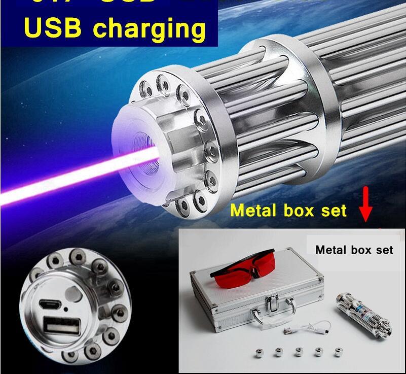 007 USB 100 w 100000 m Haute Allumette Brûlant Bleu pointeur laser USB de charge Boîte En Métal ensemble incluent motif caps lazer Torche Chasse