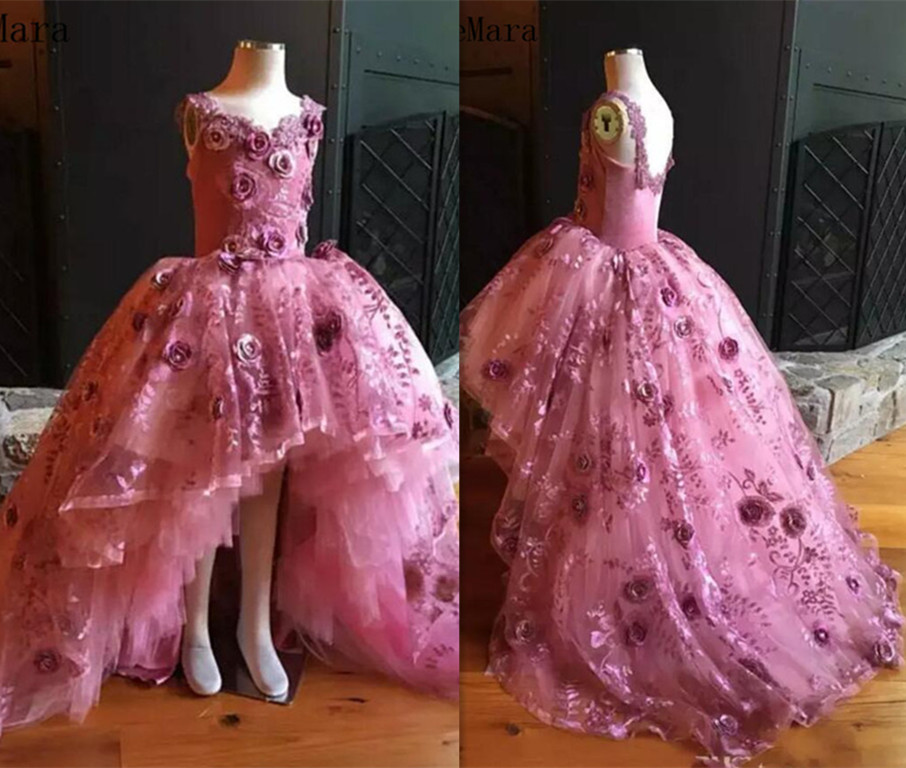 Pink 3D Flower Appliques 2019 Real Pictures Flower Girl Dress Hi Lo Little  Girls Pageant Dress 4fc9487ee2e4