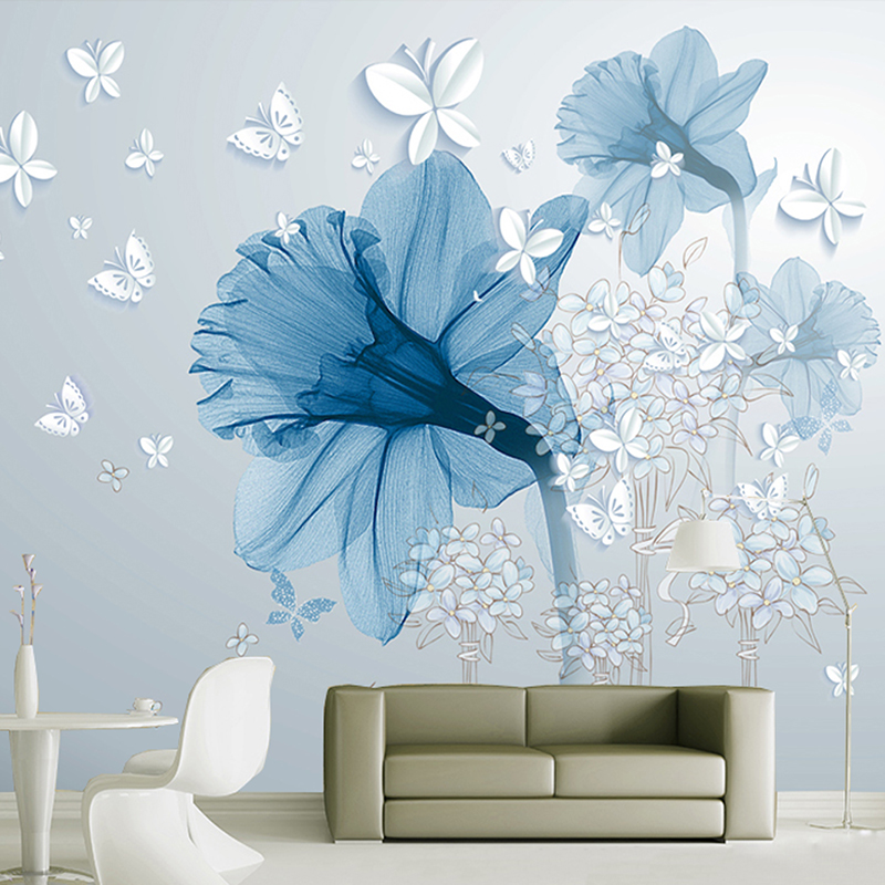 Custom 3D Wallpaper large 3D wall murals morden style TV Walls bedroom living room Study home decor blue flowers White butterfly book knowledge power channel creative 3d large mural wallpaper 3d bedroom living room tv backdrop painting wallpaper