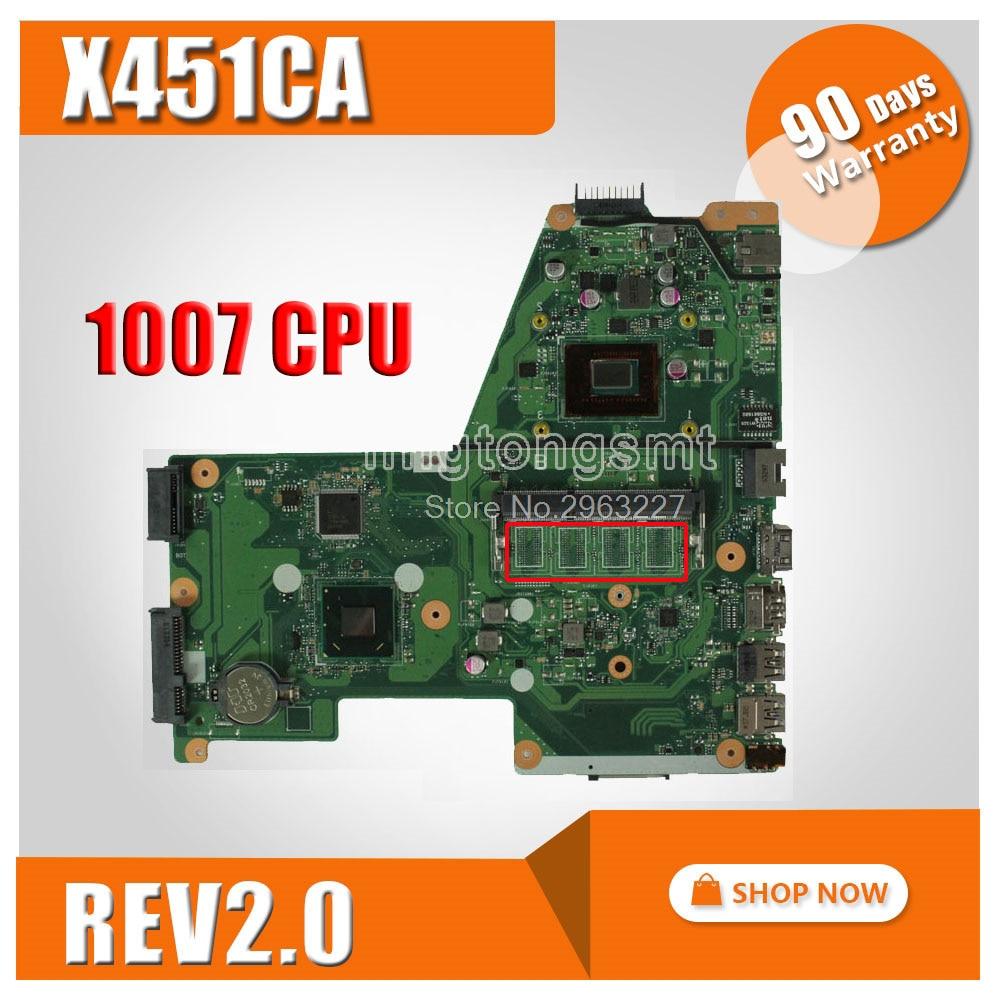 X451CA Motherboard  REV2.0 1007U For ASUS X451C F451 F451C Lapto Mainboard X451CA PN-60NB0330-MB3060 X451CA Motherboard 100% Ok
