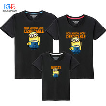 38a9c80c 2018 New Family Look T Shirts 10 Colors Summer Family Matching Clothes Dad  & Mom & Son & Daughter Cartoon Minions Outfits, HC311
