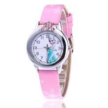 2018 Hot Princess Elsa Pattern Children Watch Fashion Crystal Cartoon Leather Strap Quartz Wristwatch Casual Girls Kids Clock