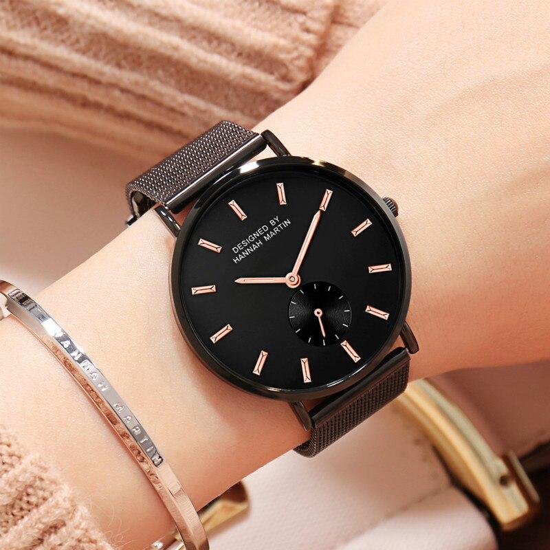 Women Watches Thin Steel Mesh Stainless Steel Japan Quartz Movement Top Brand Fashion Female Waterproof Wristwatch Clock Relogio in Women 39 s Watches from Watches
