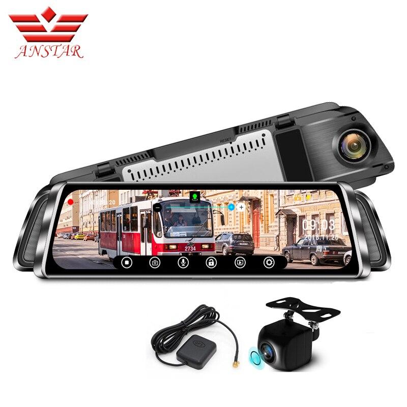 ANSTAR 10 Flux De Voitures Vue Arrière Caméra Dash Cam1080P Nuit Vision Voiture DVR Miroir Enregistreur Vidéo Registraire GPS Tracker DVR Miroir