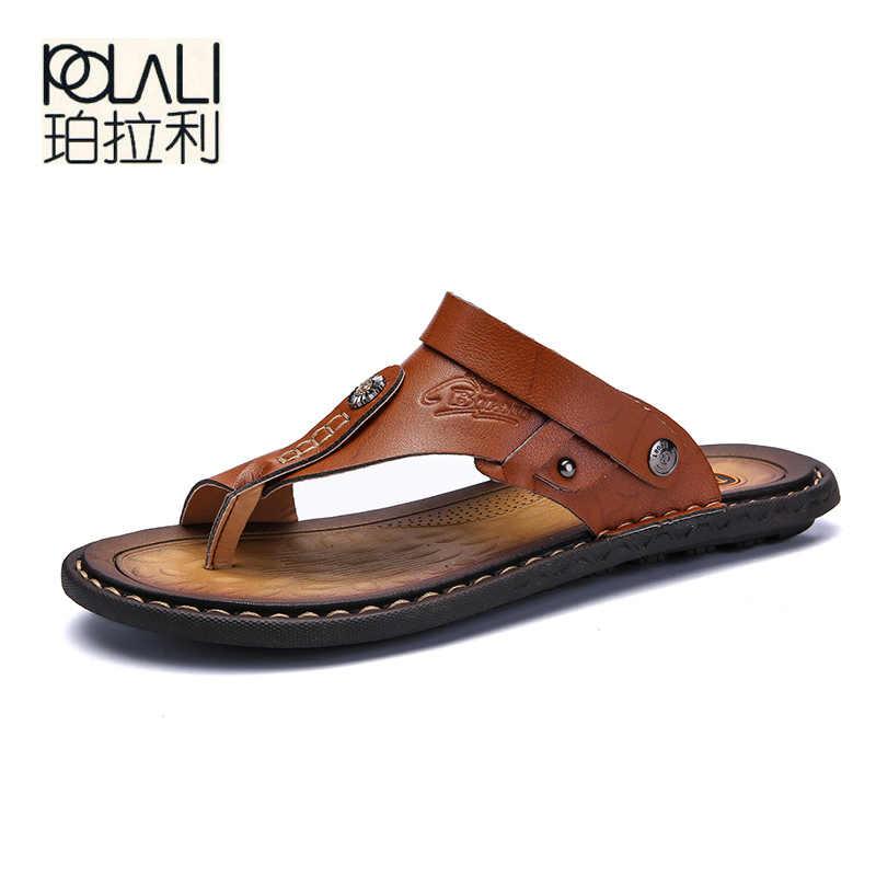 POLALI/мужские сандалии из натуральной спилка; Мужские пляжные сандалии; Брендовая мужская повседневная обувь; Вьетнамки; Мужские шлепанцы; Кроссовки; Летняя обувь