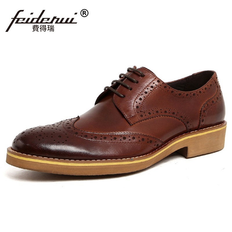 Vintage Platform Man Formal Dress Shoes Genuine Leather Carved Brogue Male Oxfords Round Toe Men's Wing Tip Bridal Flats UH89 top quality england style retro mens cow genuine leather brogue shoes male casual shoes lace up round toe breathable wing tip