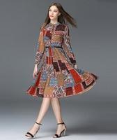 2017 Runway Dress Women Spring European Fashion Long Sleeve Flower Printed Knee-length High Quality Dresses Pleated Vestidos