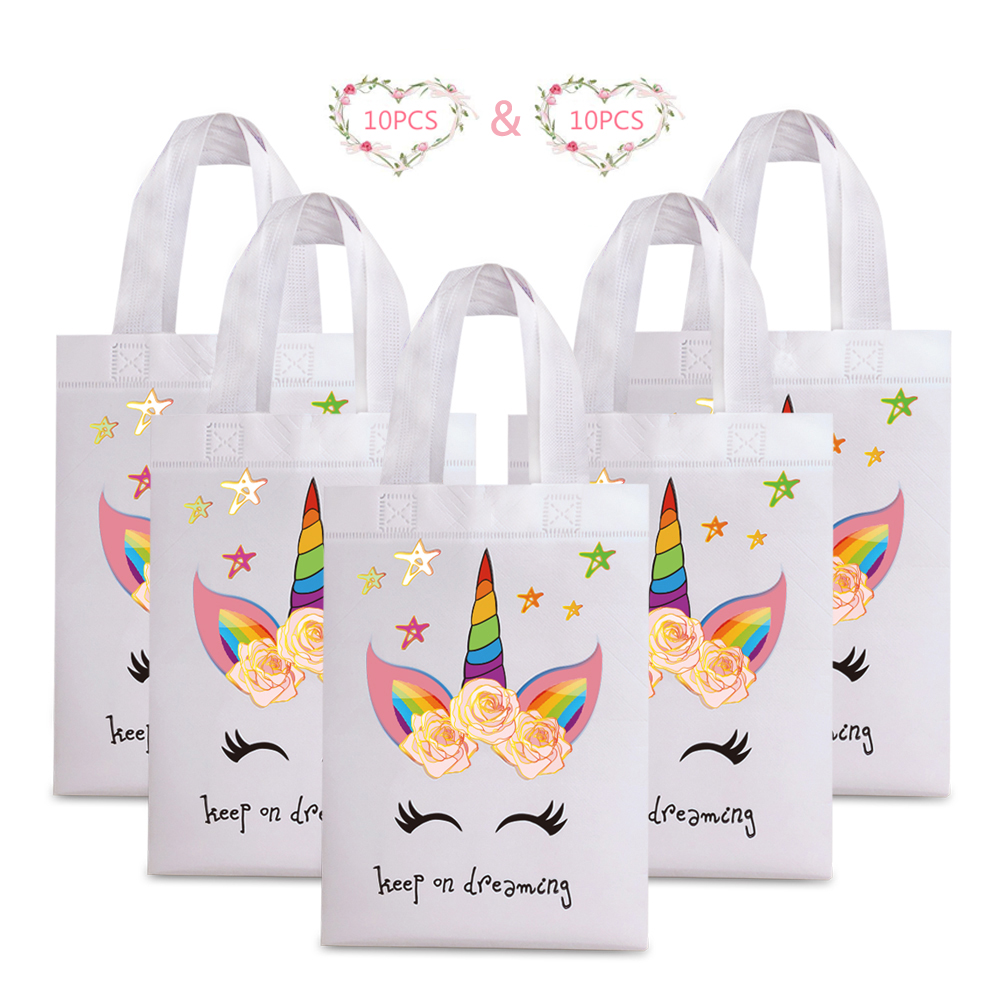 20pcs Unicorn Shopping Bags Laminating Waterproof Non-woven Fabric Paper Bag For Women Kid Birthday Party Gift Tote Shopper Bags