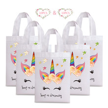 20pcs Unicorn Shopping Bags Laminating Waterproof Non-woven Fabric Paper Bag for Women Kid Birthday Party Gift Tote Shopper Bags(China)