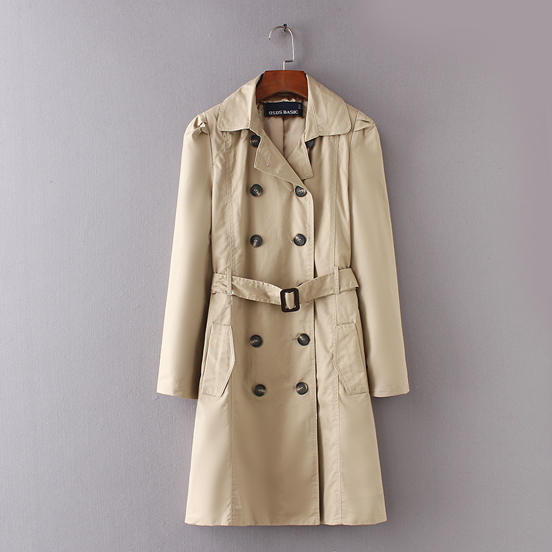 ASDS Women Double Breasted   Trench   Coat Female Casual Slim Long Sleeve Khaki Windbreaker Women Spring Autumn Coat WWT8663