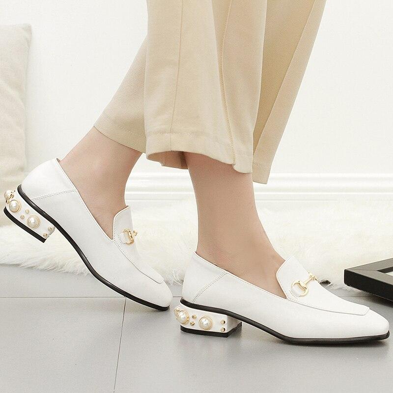 ФОТО Spring luxury brand women shoes Rivets pearl heel ladies shoes fashion Square head buckle sweet women's flat shoes black white