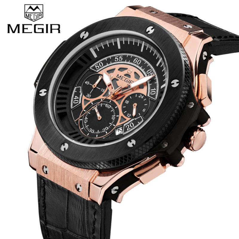 Top Luxury Brand Megir Fashion Mens Chronograph Luminous Sport Watches Leather Strap Quartz Male Waterproof Military Wrist watch megir sport mens watches top brand luxury male leather waterproof chronograph quartz military wrist watch men clock saat 2017