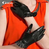 Gours 冬の女性の革手袋ファッション新ブランド黒暖かいドライビンググローブレースゴートスキンミトン Guantes GSL021
