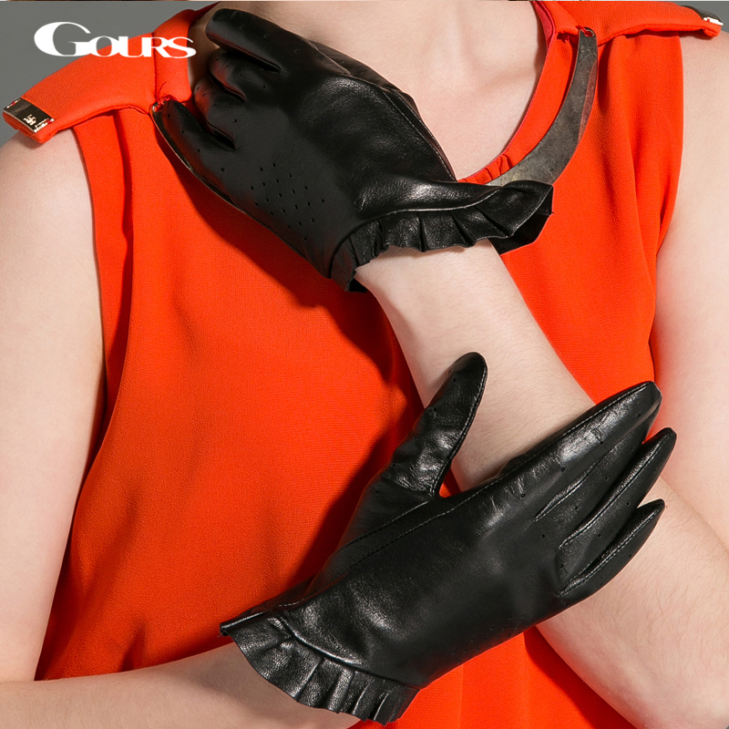 Gours Winter Women Genuine Leather Gloves Fashion New Brand Black Warm Driving Gloves Lace Goatskin Mittens Guantes GSL021