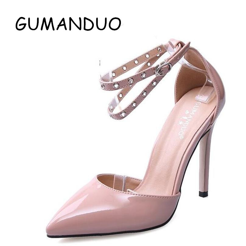 Spring New Fashion Women Pumps High Heels Ankle Buckle Sandals  Sexy Hollow Pointed Toe High Heeled Wedding party Shoes Woman wholesale lttl new spring summer high heels shoes stiletto heel flock pointed toe sandals fashion ankle straps women party shoes